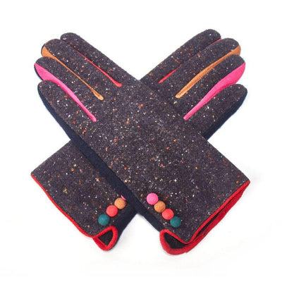 Multicoloured Speckle Gloves-Discontinued-Black-Tegen Accessories