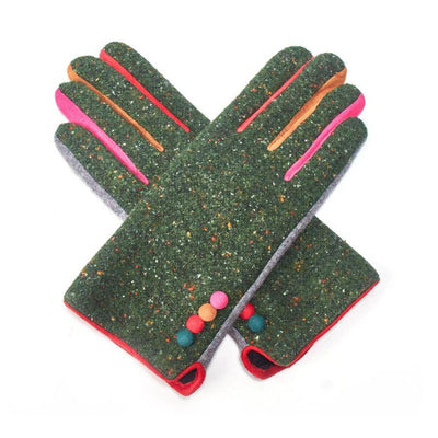 Multicoloured Speckle Gloves-Discontinued-Green-Tegen Accessories