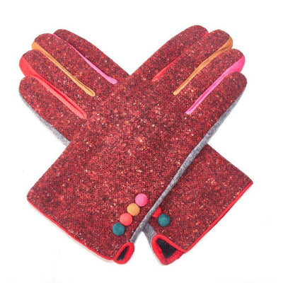Multicoloured Speckle Gloves-Discontinued-Red-Tegen Accessories