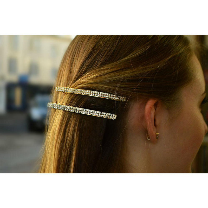 Narrow Swarovski Crystal Barrette-Barrettes-Swarovski Crystal-Tegen Accessories