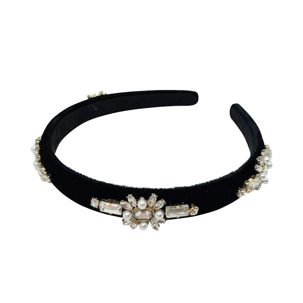Narrow Velvet Art Deco Swarovski Headband - Swarovski Crystal - Headband - Crystal Pearl Black