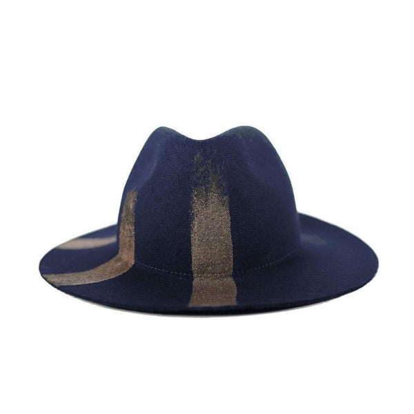 Navy & Bronze Half Moon Fedora Hat