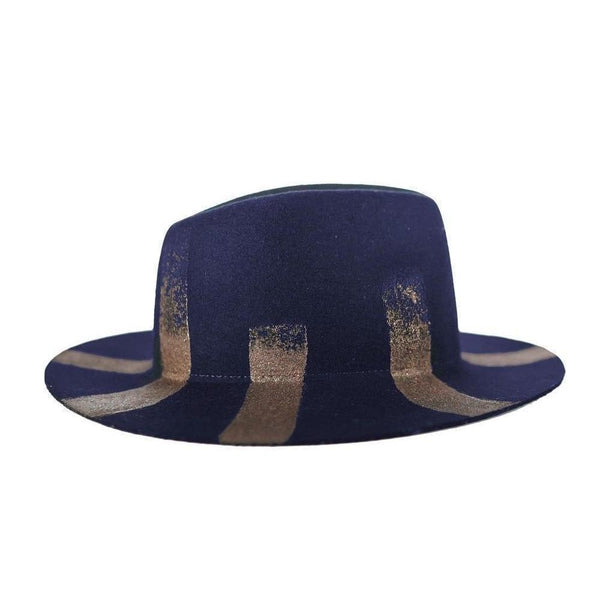 Navy & Bronze Half Moon Fedora Hat-Hats-Alpachura Hats-Navy-Tegen Accessories