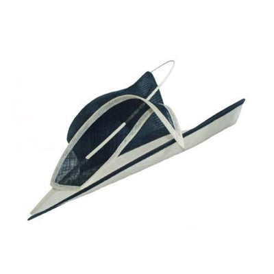 Navy & White Occasion Hat with Sinamay Quill-Discontinued-Navy-Tegen Accessories