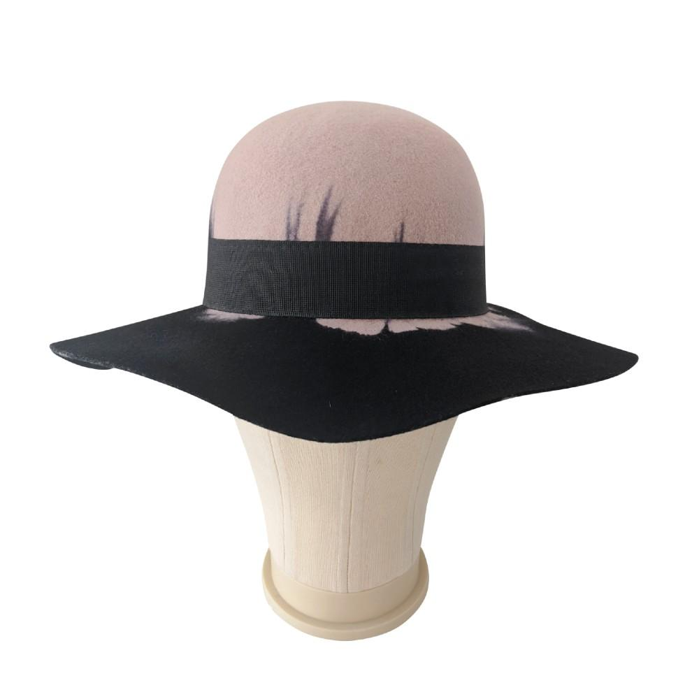 Nude & Black Ombre Floppy Brim Hat-Hats-Tegen Accessories-Black