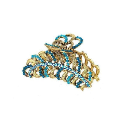 Ocean Blue Crystal Feather Hair Claw-Discontinued-Jade Crystal-Tegen Accessories