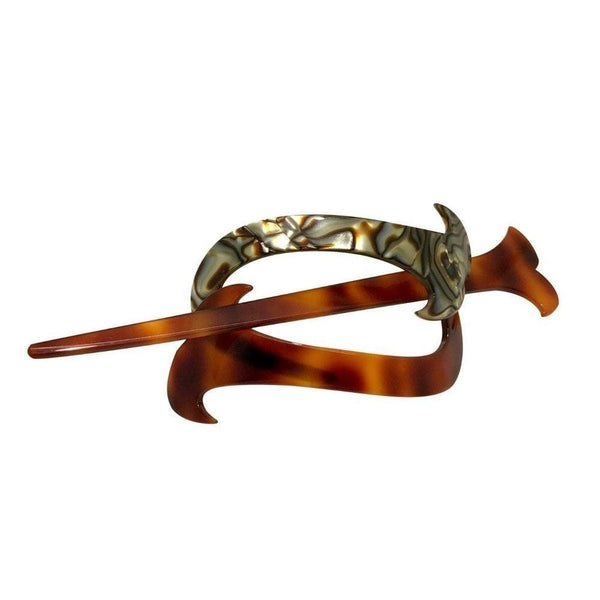 Onyx and Tortoiseshell Stick Barrette-Barrettes-Ooh La La!-Onyx-Tegen Accessories