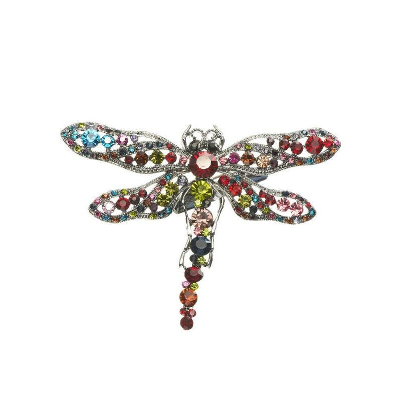 Opal Dragonfly Rainbow Crystal Hair Clip and Brooch-Brooches-Rosie Fox-Tegen Accessories Multicoloured