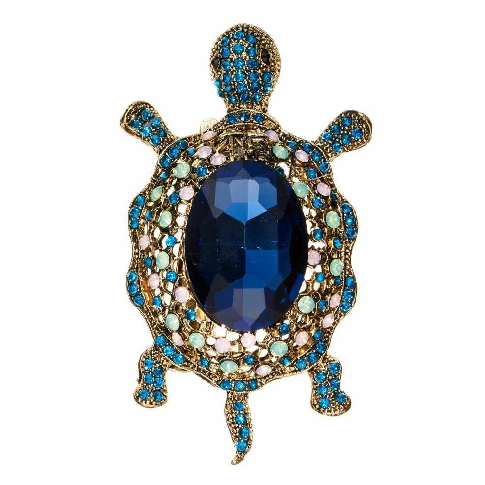 Opal Turtle Crystal Hair Clip/Brooch-Brooches-Rosie Fox-Tegen Accessories