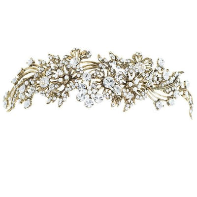 Ornate Crystal Antique Gold Tiara-Discontinued-Tegen Accessories