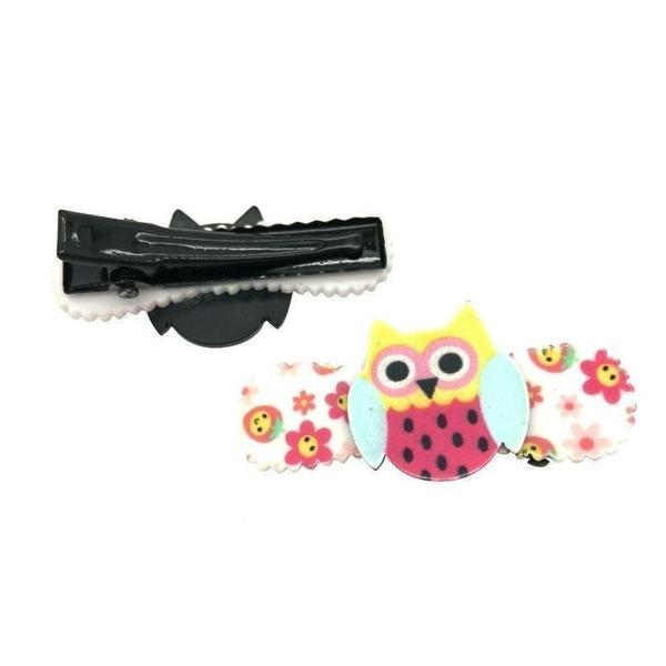 Owl Hair Clips-Clips & slides-Children-Green-Tegen Accessories