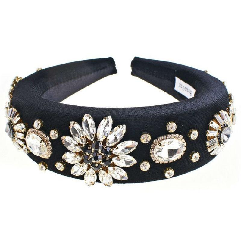 Padded Velvet Crystal Flower Headband-Headbands-Rosie Fox-Black-Tegen Accessories Black