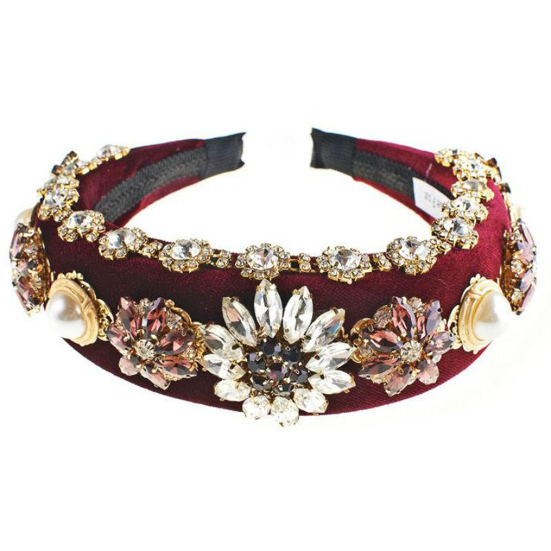 Padded Velvet Crystal Flower Headband-Headbands-Rosie Fox-Crimson-Tegen Accessories