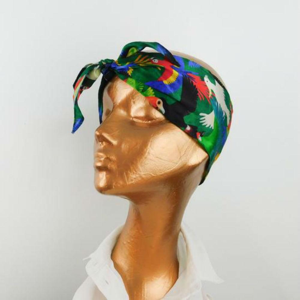 Parrot Print Silk Scarf-Scarves-Also the Bison-Tegen Accessories