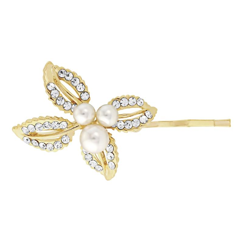 Pearl and Crystal Leaf Hair Slide-Clips & slides-Bridal-Tegen Accessories