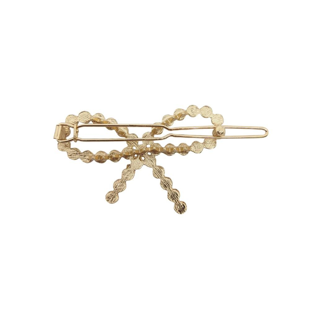 Pearl Bow Gold Hair Clip-Clips & Slides-Tegen Accessories-Pearl