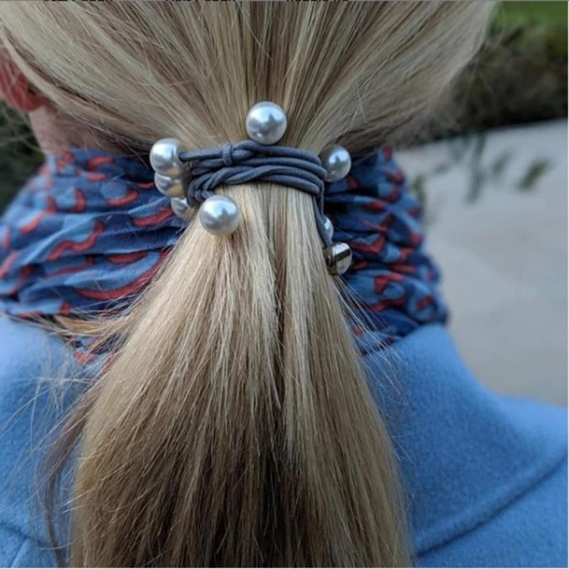 Pearl Cluster Charm Hairband-Elastics-by Eloise-Burgundy-Tegen Accessories Burgundy Red
