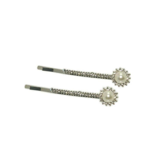 Pearl & Crystal Edwardian Kirby Grips-Discontinued-Silver-Tegen Accessories