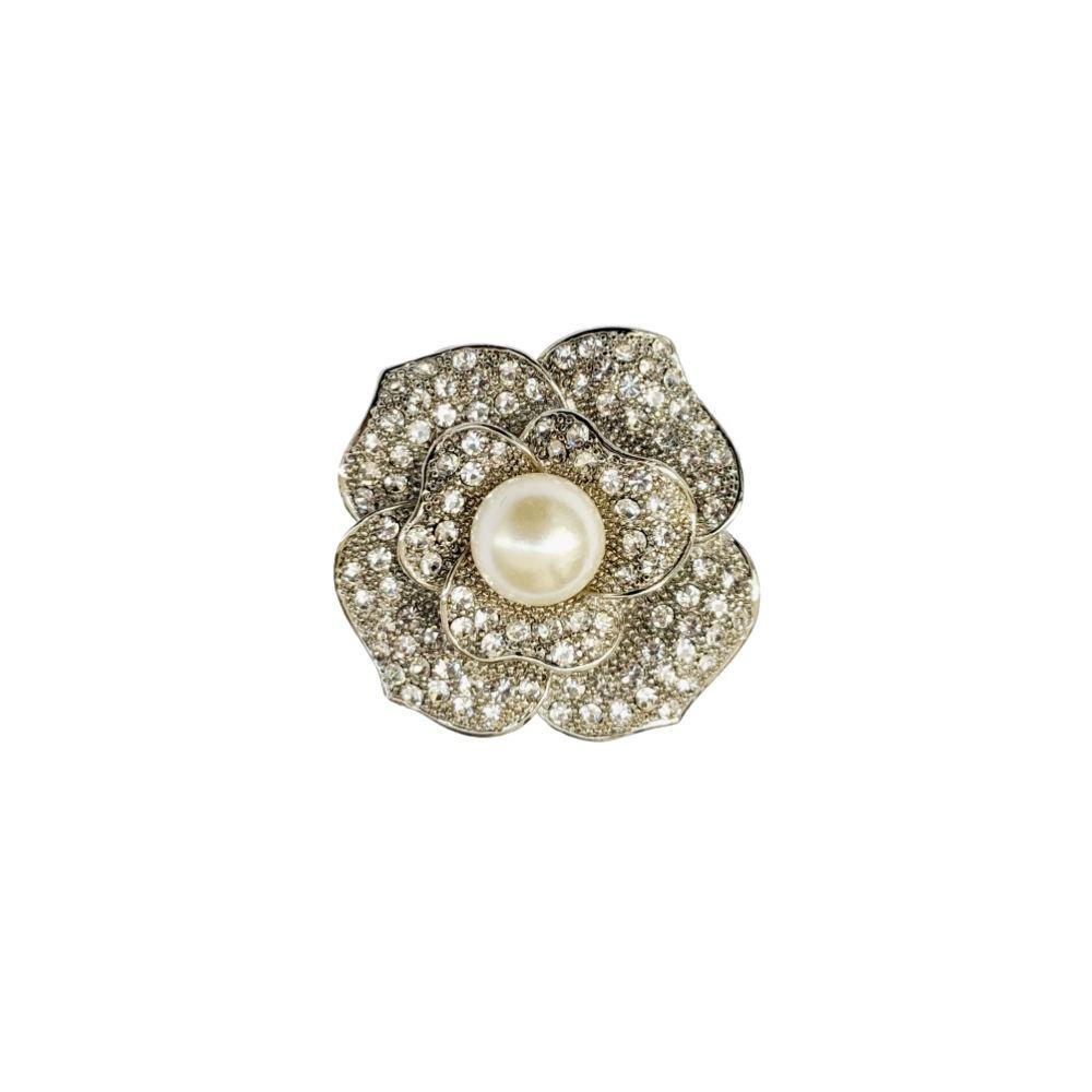 Pearl & Crystal Rose Hair Clip/Brooch-Brooches-Rosie Fox-Tegen Accessories