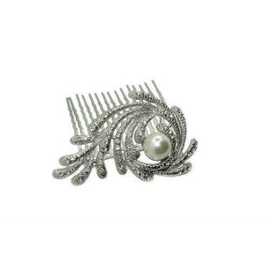 Pearl Spiral Hair Comb-Hair combs-Swarovski Crystal-Silver-Tegen Accessories