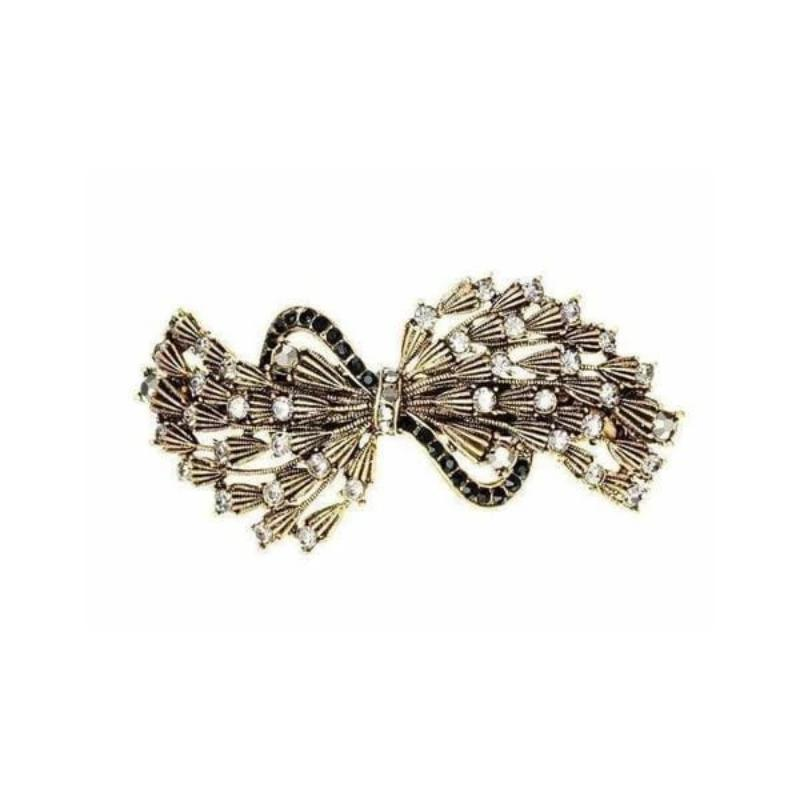 Pewter Crystal and Gold Bow Barrette-Barrettes-Rosie Fox-Tegen Accessories