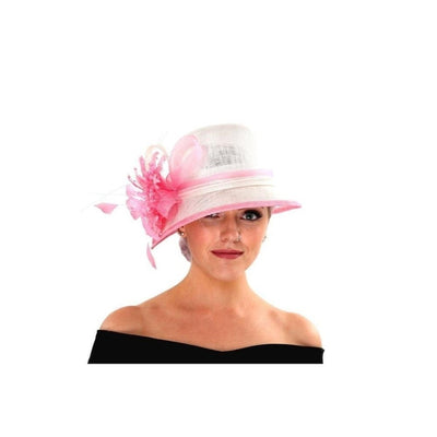 Pink and Ivory Cloche Occasion Hat-Discontinued-Pink/Ivory-Tegen Accessories