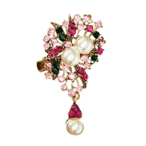 Pink Pearl Bouquet Hairclip and Brooch-Clips & slides-Rosie Fox-Tegen Accessories