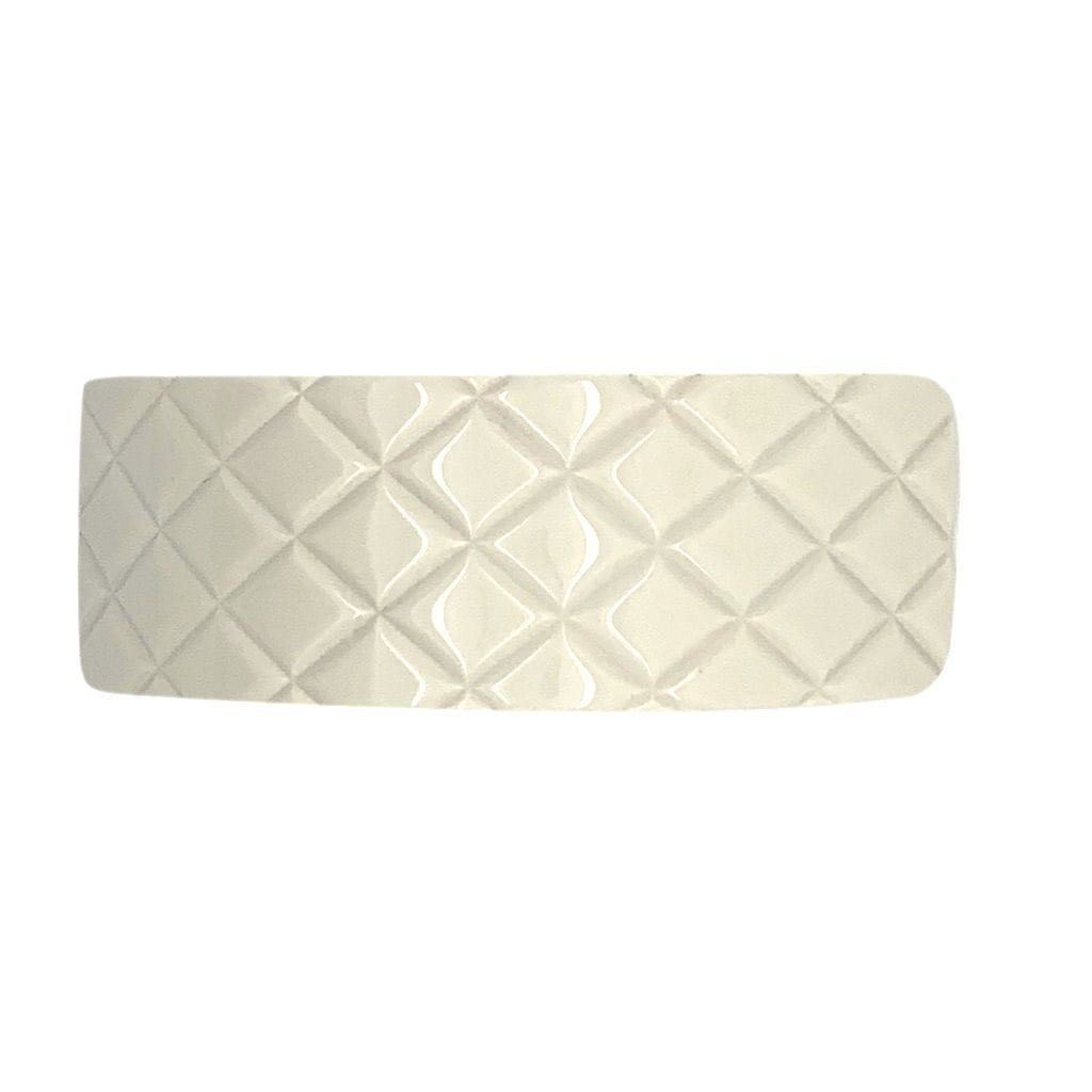 Quilted Wide Arched Barrette-Barrettes-Ooh La La!-Ivory-Tegen Accessories
