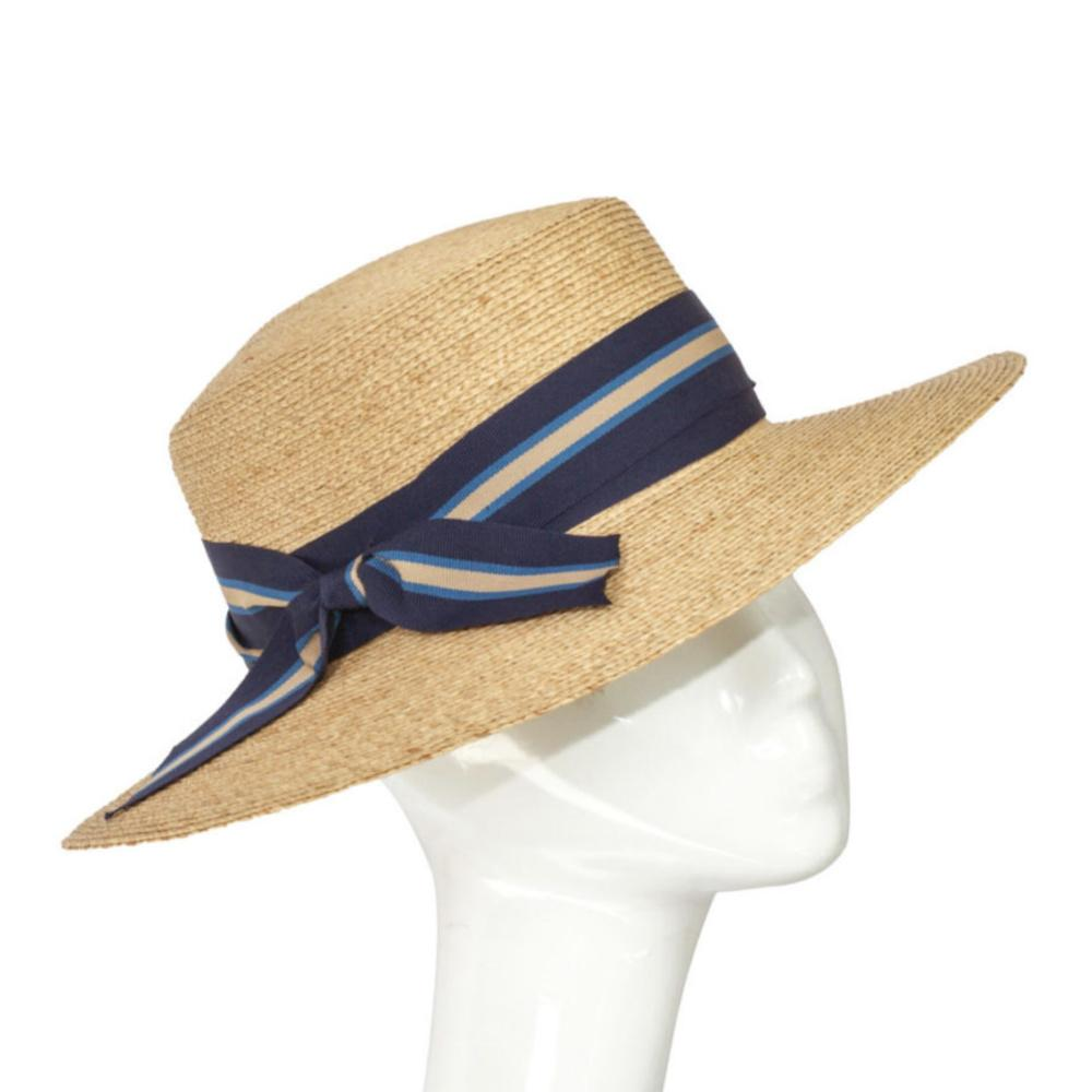 Raffia Boater Sun Hat-Hats-Suzanne Bettley-Navy Blue-Tegen Accessories Blue