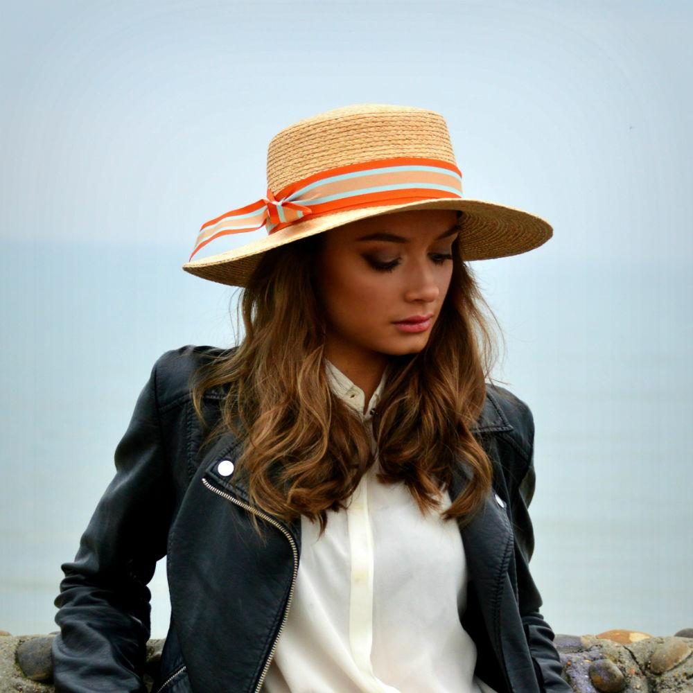 Raffia Boater Sun Hat-Hats-Suzanne Bettley-Navy Blue-Tegen Accessories