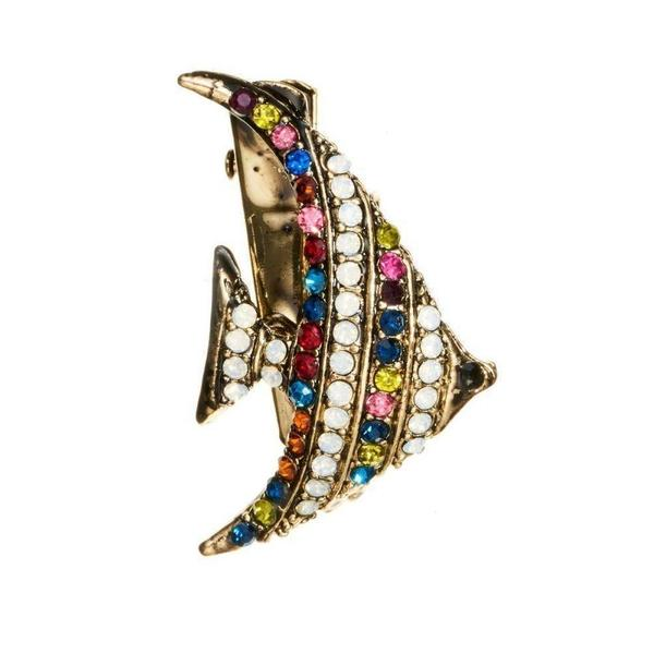 Rainbow Crystal Fish Hairclip & Brooch-Clips & slides-Rosie Fox-Tegen Accessories