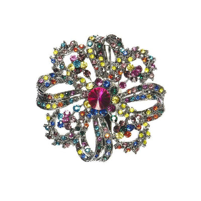 Rainbow Crystal Swirl Hair Clip/Brooch-Brooches-Rosie Fox-Tegen Accessories