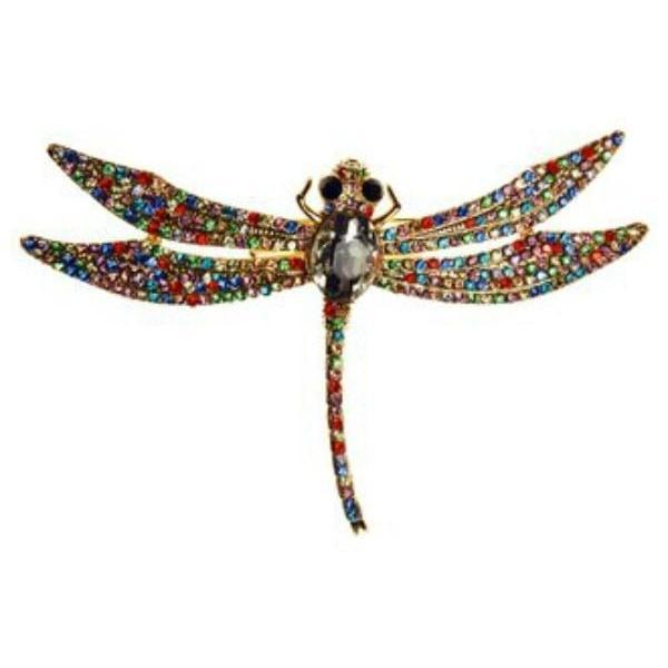 Rainbow Dragonfly Brooch-Discontinued-Multicoloured Crystal-Tegen Accessories
