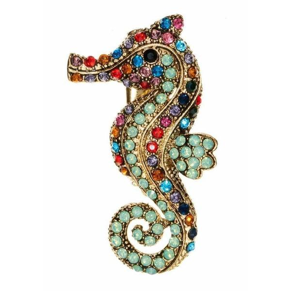 Rainbow Seahorse Hairclip & Brooch-Brooches-Rosie Fox-Tegen Accessories