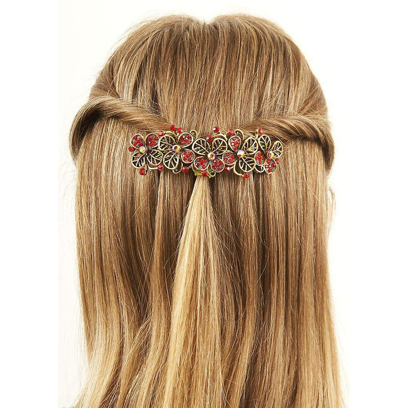 Red Crystal Poppies Barrette-Barrettes-Rosie Fox-Tegen Accessories