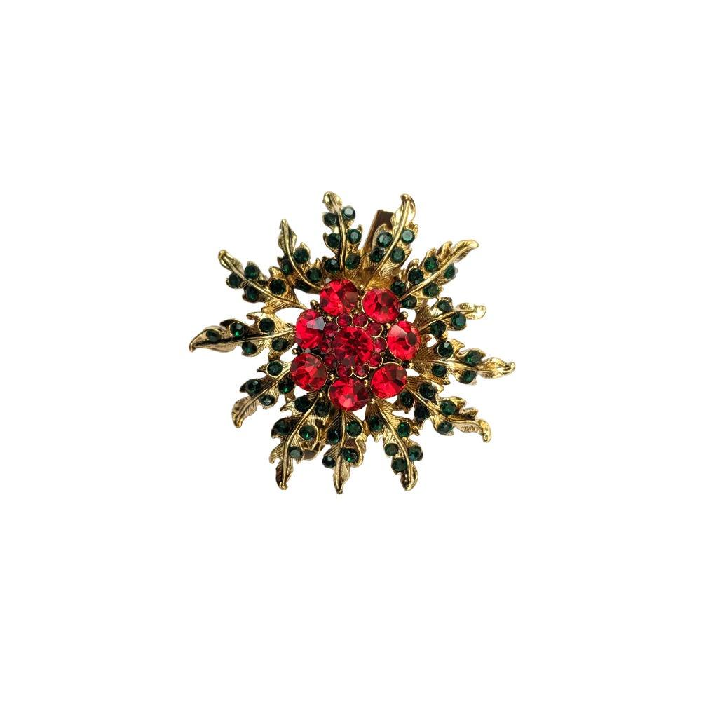 Red Floral Bloom Crystal Hair Clip/Brooch-Brooches-Rosie Fox-Tegen Accessories