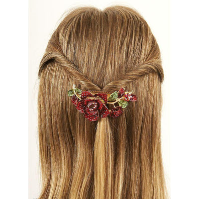 Red Rose Crystal Barrette-Barrettes-Rosie Fox-Tegen Accessories