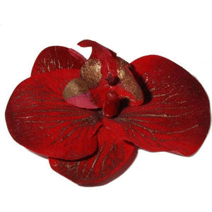 Red with Gold Orchid Hairclip and Corsage-Clips & slides-Rosie Fox-Tegen Accessories