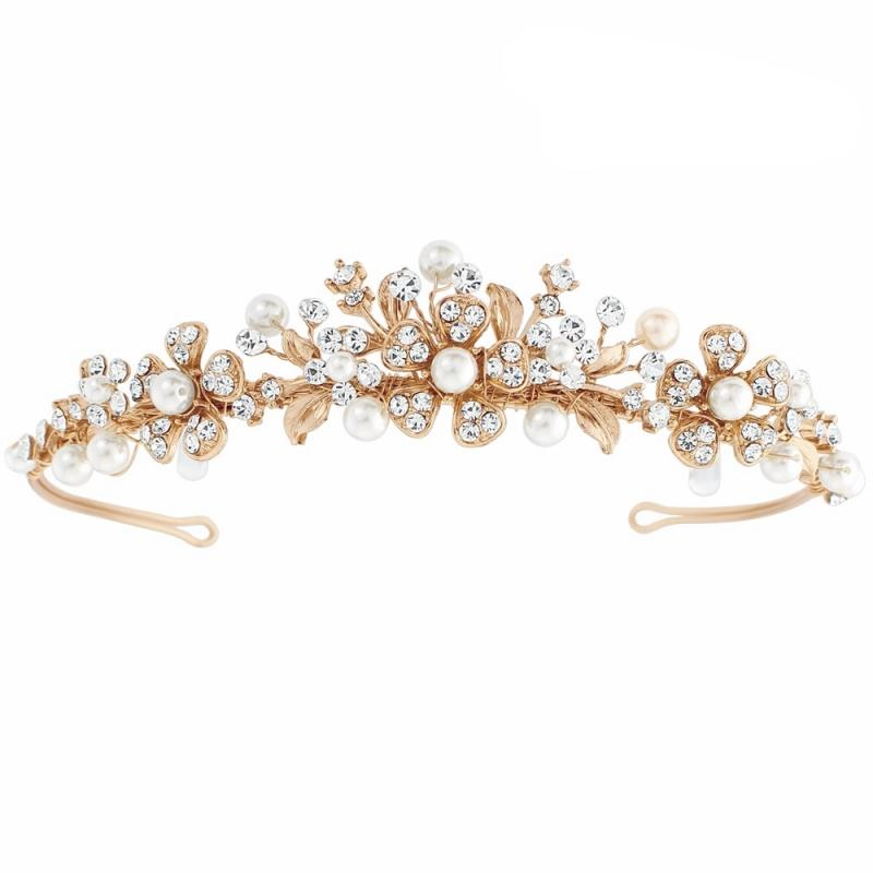 Rose Gold Daisy Tiara-Tiaras-Bridal-Tegen Accessories