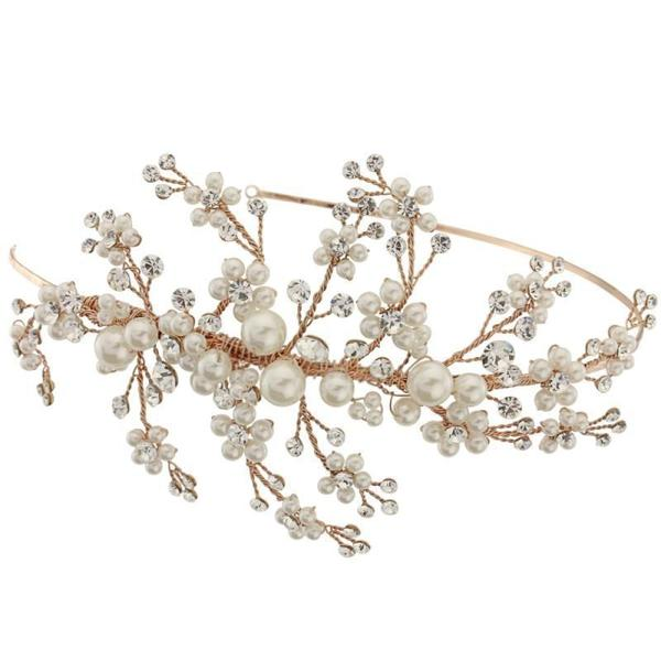 Rose Gold Pearl and Crystal Wedding Headband-Headbands-Bridal-Tegen Accessories Rose God Pearl Crystal