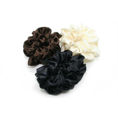 Rouched Satin Scrunchie-Discontinued-Black-Tegen Accessories