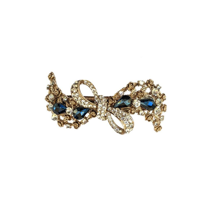 Sapphire Crystal Antique Bow Barrette-Barrettes-Rosie Fox-Tegen Accessories