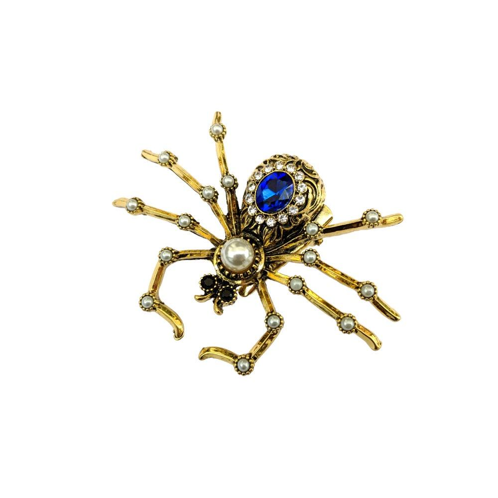 Sapphire Crystal Spider Hair Clip/Brooch-Brooches-Rosie Fox-Tegen Accessories