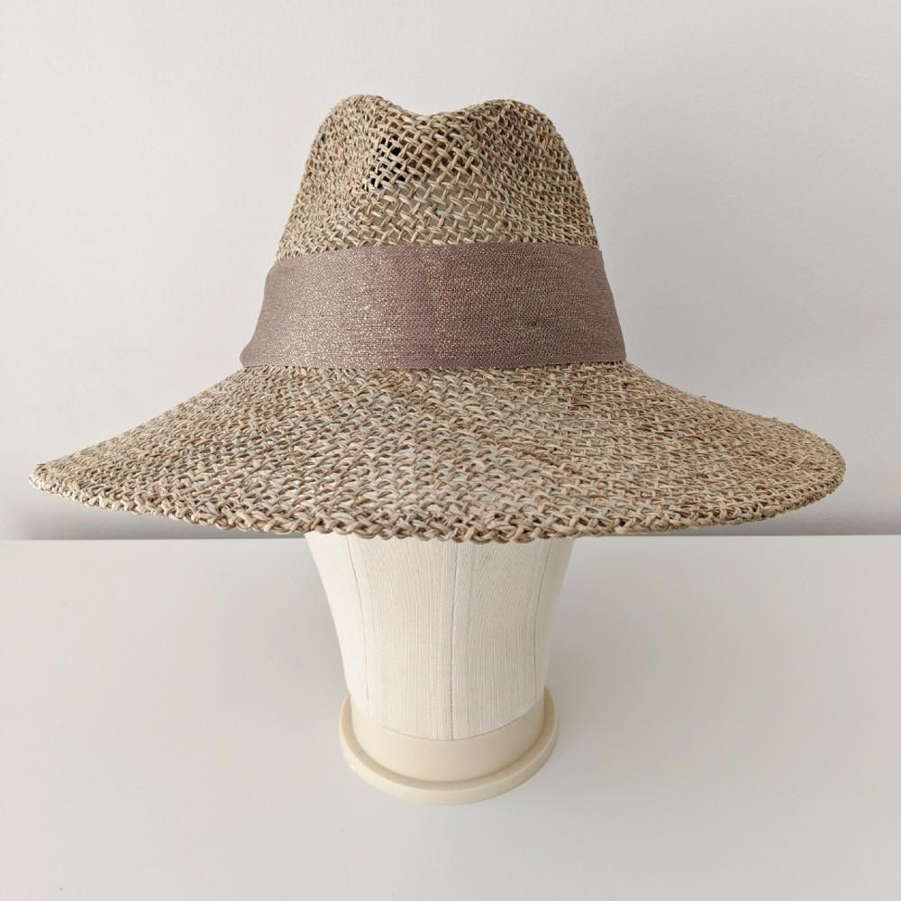 Seagrass Fedora with Glitter Band Brown Gold