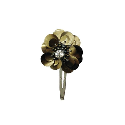 Sequin Flower Hair Clip-Clips & slides-Gil Fox-Antique Gold-Tegen Accessories