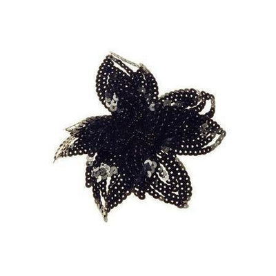 Sequin Lily Hairclip & Brooch-Discontinued-Black-Tegen Accessories