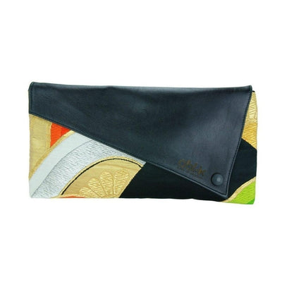 Silk Kimono Kouture Leather Clutch Bag-Discontinued-Golden Citrus-Tegen Accessories