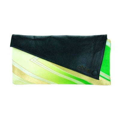 Silk Kimono Kouture Leather Clutch Bag-Discontinued-Lime Lightning-Tegen Accessories