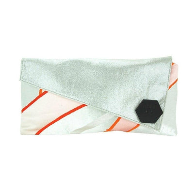 Silk Kimono Kouture Leather Clutch Bag-Discontinued-Orange Bamboo Silver Shimmer-Tegen Accessories