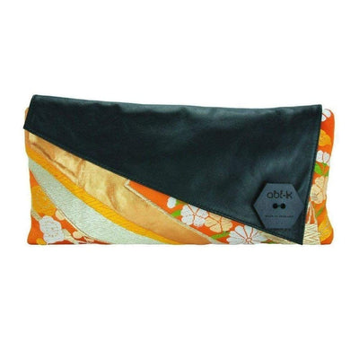 Silk Kimono Kouture Leather Clutch Bag-Discontinued-Orange Kikko-Tegen Accessories